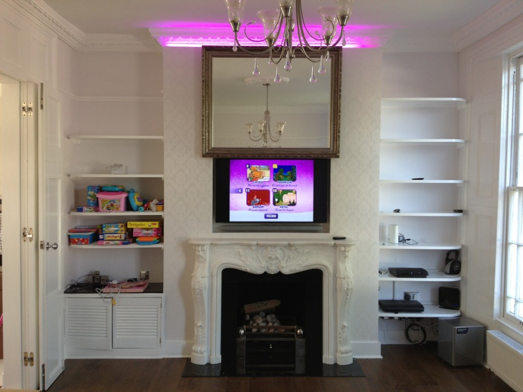 Recessed Tv With Moving Artwork Mirror Lift Installation