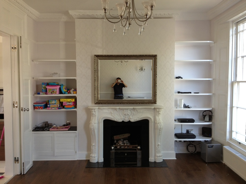 Antique Fireplace Screen >> Recessed TV With Moving Artwork Mirror Lift Installation ...