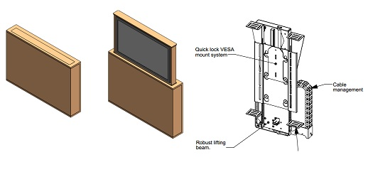 Future automation lsm be lsl be tv lift system with box for Motorized vertical tv lift