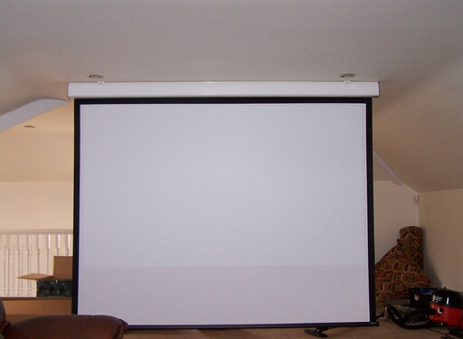 2.4M Wide Ceiling Mounted Home Cinema Screen Installation