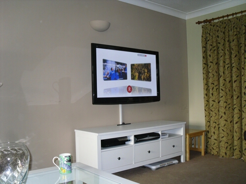 Standard TV Wall Installation With Floating Shelves TV Wall Mounted With  Cable Managment ...