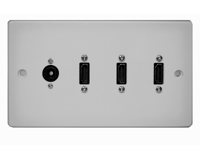 Double Gang Triple HDMI With Optical Wall Plate