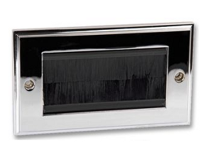 Polished Chrome Double Steel Brush Plate with Black Brushes