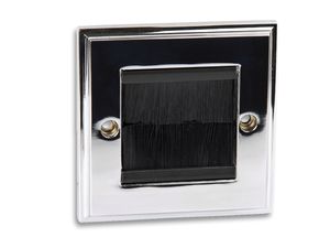 Polished Chrome Single Gang Steel Bursh Plate with Black Brushes
