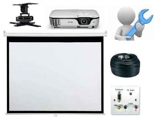 Projector and Manual Screen With Installation