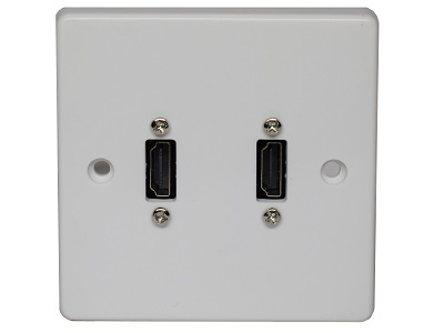Single Gang Twin HDMI Wallplate