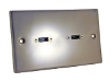 Satin Steel Two Gang Twin HDMI Conection Plate