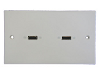White Two Gang Twin HDMI Face Plate