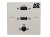 White Single Gang Dual HDMI With Optical Wall Plate